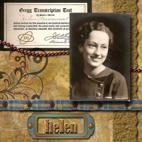 Helen Maanum's High School Picture - Heritage Family - Gallery - Scrap Girls Digital Scrapbooking Forum