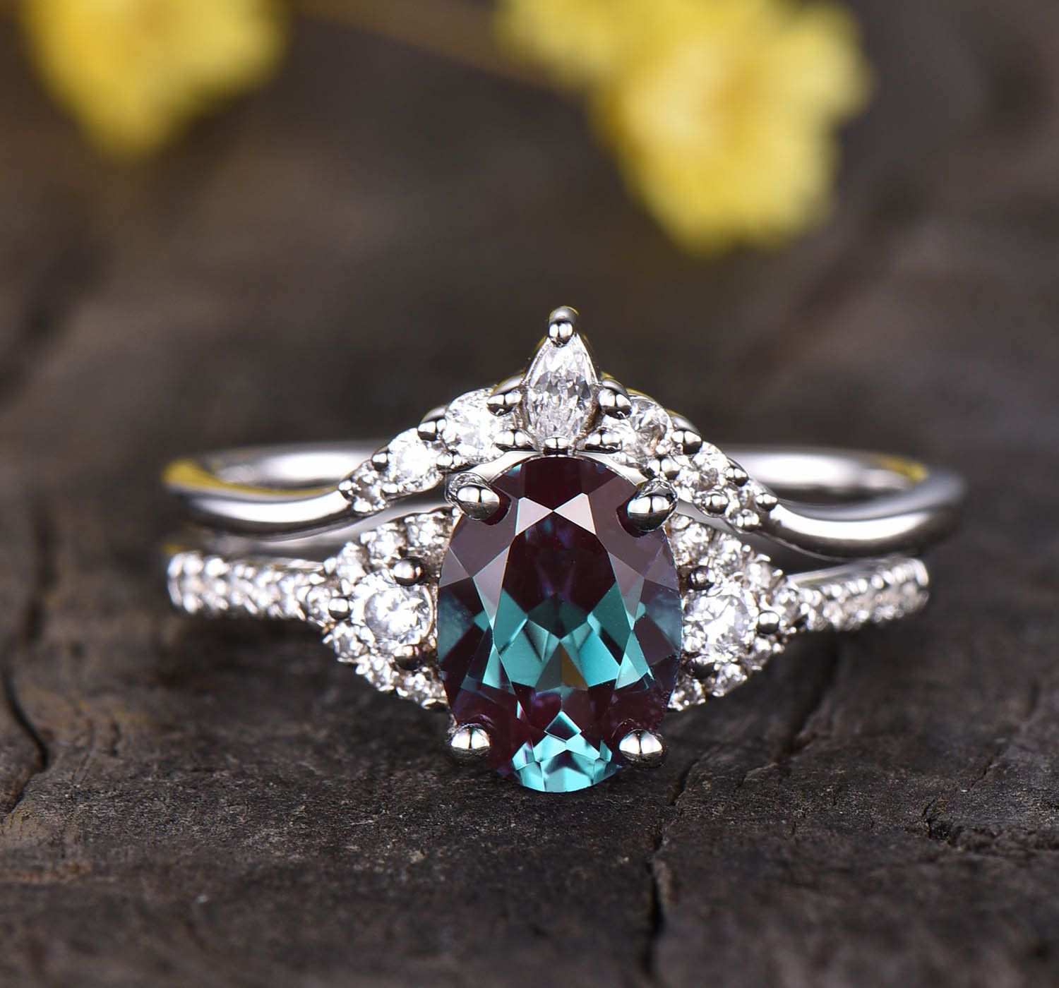 Matching band Curved wedding ring Alexandrite diamond ring Vintage Women Jewelry Unique Stacking ring Alexandrite wedding band