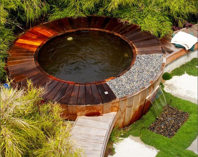 Waterfall style wooden hot tub