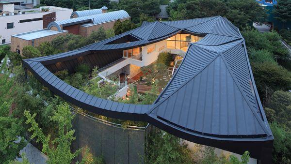 Striking home in South Korea showcasing incredible courtyard