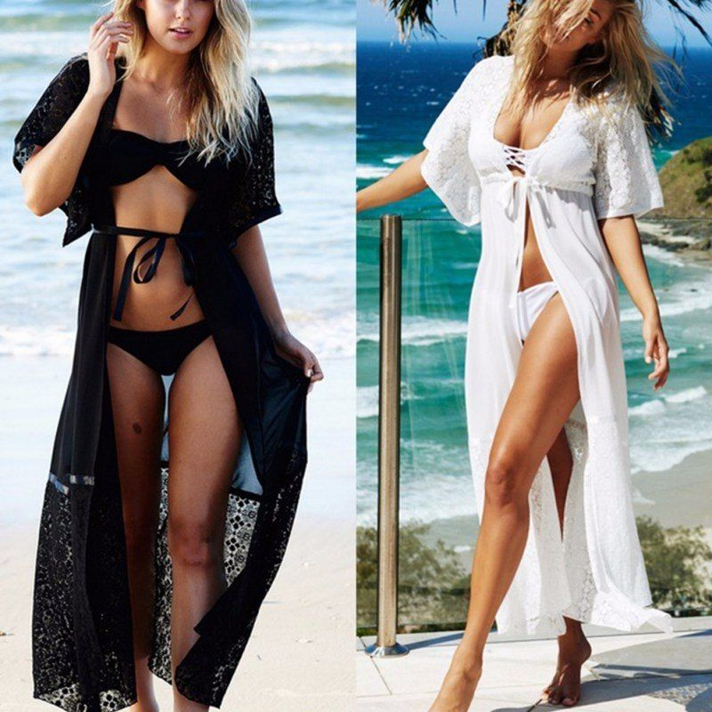 c98311fadfd66  17.3 - Cool Black   White Lace Bikini Cover Up Loose Floor Length Beach  Dress Swimsuit Cover-ups Beach Tunic Wear - Buy it Now!