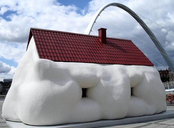 Designed by an Austrian artist Erwin Wurm, the Fat House is, actually, a life-sized building. It is part of the Fat series started by the artist in 2003.