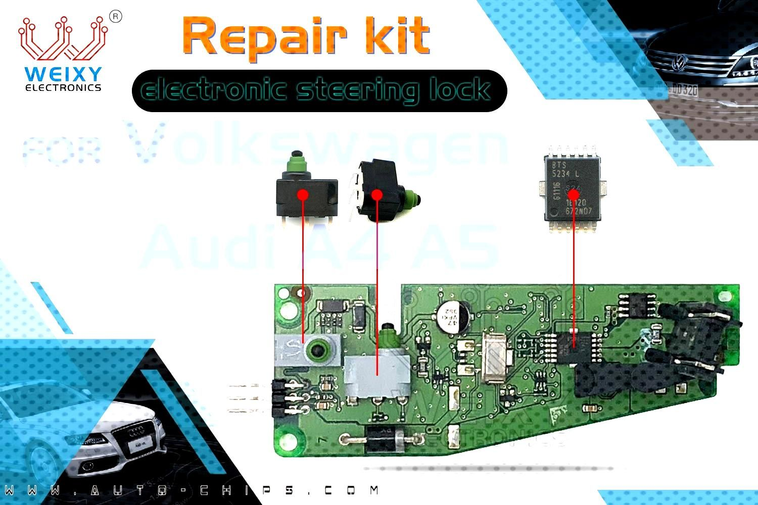 Repair kit for Volkswagen Audi A4 A5 electronic steering lock