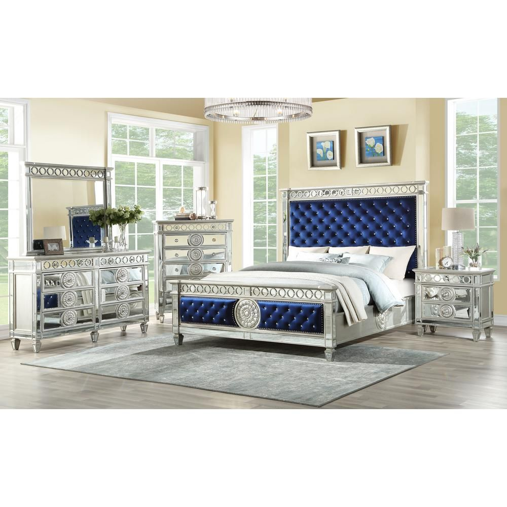 Acme Furniture Varian Blue Velvet And Mirrored Queen Bed 26150q