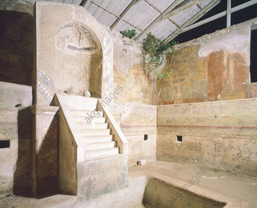 *POMPEII, ITALY~Fountain decorated in the upper section with scenes of hunting and gardens and in the lower section with a fish hatchery, House of the Centenary, Pompeii (UNESCO World Heritage List, 1997), Campania. Roman Civilization, 1st Century.