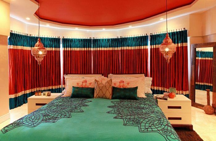 Schlafzimmer Design rot petrol grün Schlafzimmer Ideen