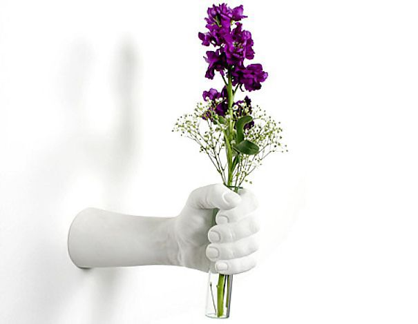 Hand Shaped Wall Mounted Vase   Out Of The Ordinary 18 Creative Flower Vases  Designs