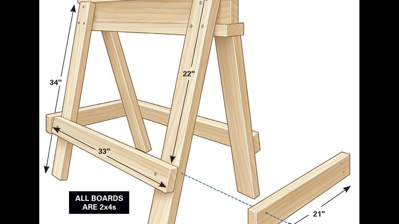 how to build saw horses with 2x4s and use them to support. Black Bedroom Furniture Sets. Home Design Ideas