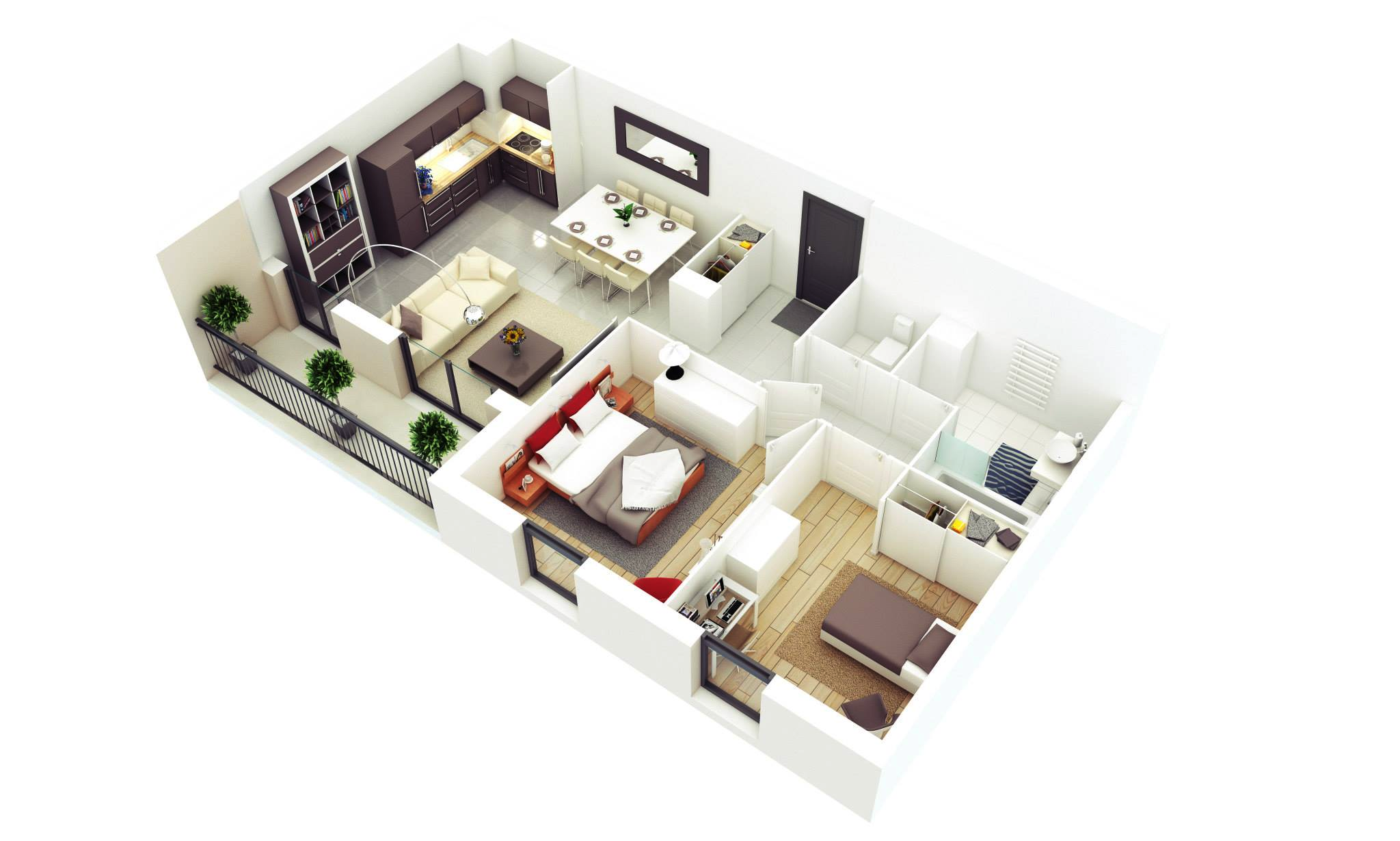 25 More 2 Bedroom 3d Floor Plans Small House Design Small Apartment Plans Small House Design Plans