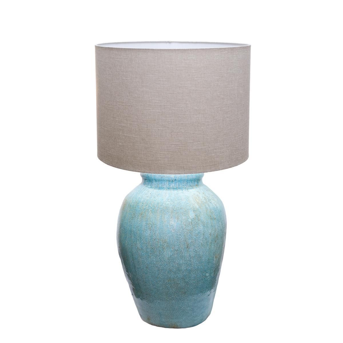Tall Ceramic Turquoise Drip Table Lamp - Shades of Light