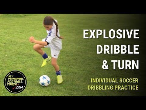 Soccer Dribbling Drills For Kids Explosive Dribble Turn Soccer Dribbling Drills Soccer Drills For Kids Soccer Training