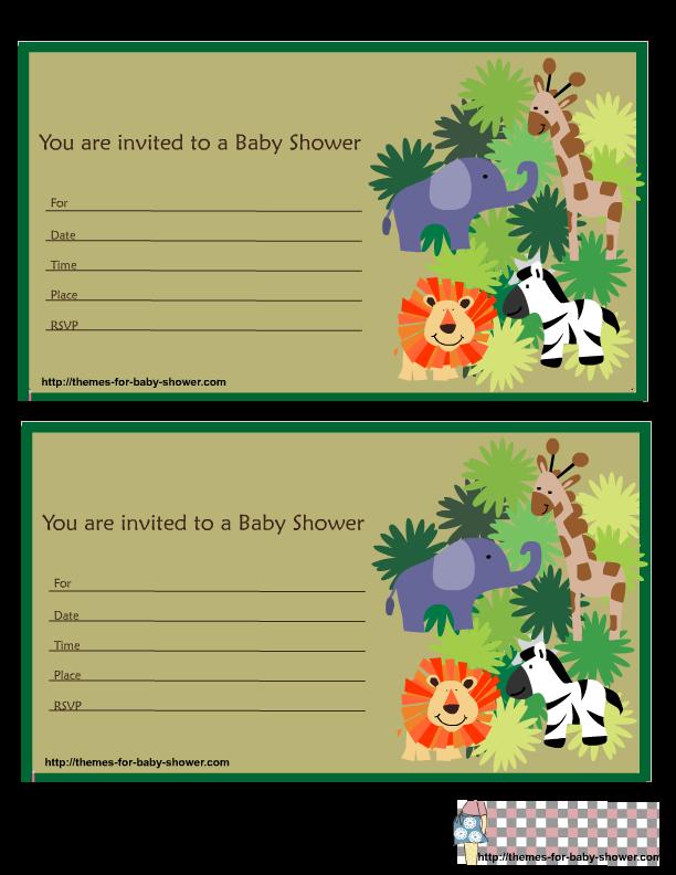 Cute Safari Baby Shower Invitations