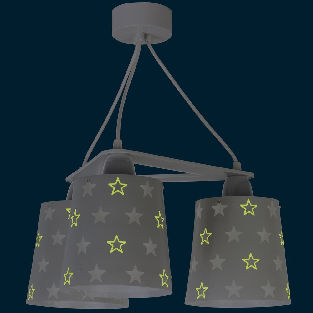 Kinderzimmer Pendelleuchte Stars in Grau fluoreszierend ...