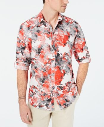 I-N-C Mens Abstract Floral Button Up Shirt