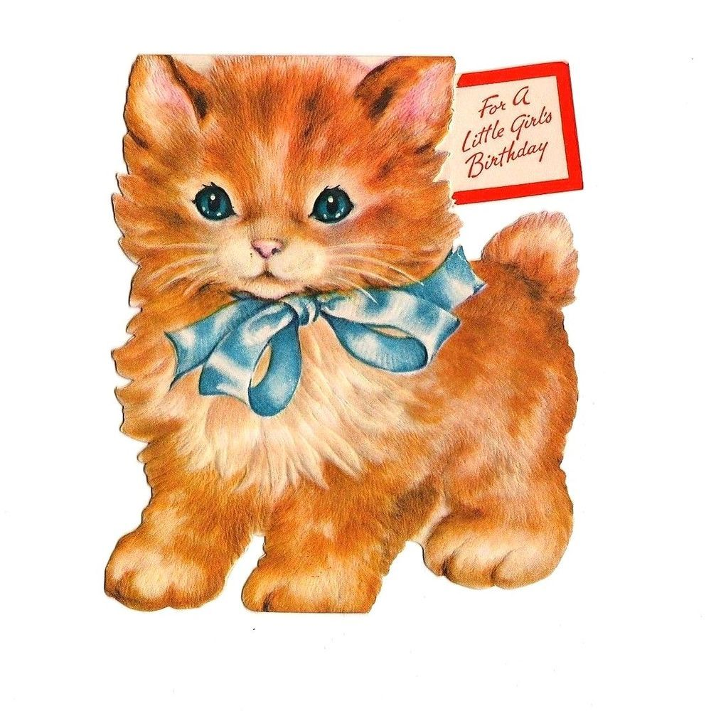 Vintage die cut orange kitten birthday greeting card vintage vtg rust craft christmas card old fashioned girl in blue lights giant candle kristyandbryce Image collections