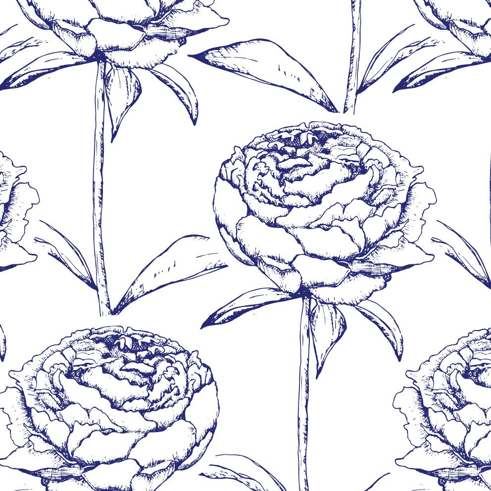 georgian bay brights navy by lynn clark design - grand rapids based surface design and illustration studio. pen and ink drawing of june peonies. #surfacedesign, #pattern