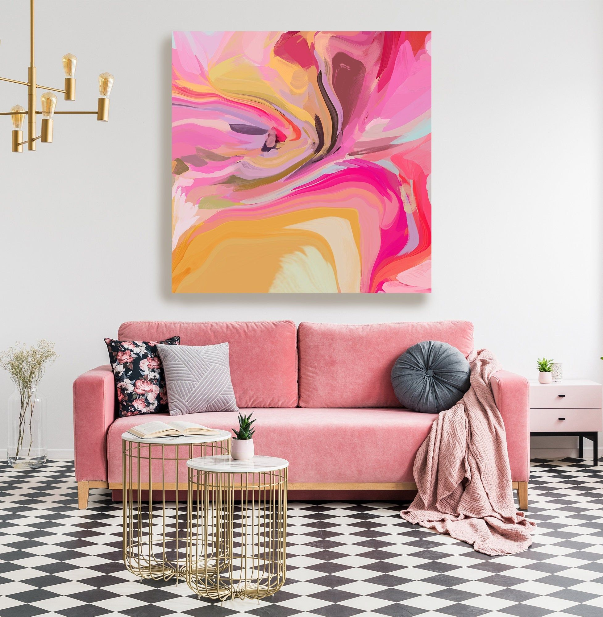Pink Abstract Fine Art Canvas Abstract Art Contemporary Art Modern Hot Pink Painting Expressionism Canvas Print In Light Of Fate Modern Abstract Wall Art Canvas Art Pink Abstract