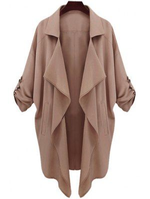 Long Sleeve Solid Color Trench Coat - Camel  cd6ea791817