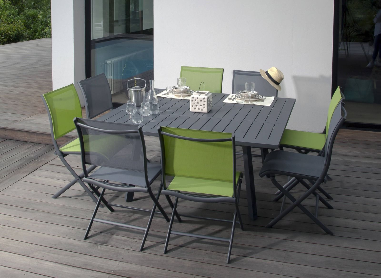 Table de jardin rectangle pour 10 couverts Barcelona Océo - Mobilier ...