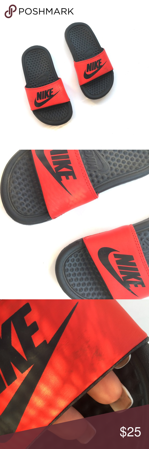 save off d7857 92b87 Red and black nike slides Childs size. Gently used. One scuff on top. •no  trades•no offsite transactions•no low balls•offers considered through the  offer ...