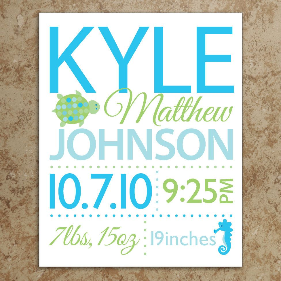 Birth announcement wall art diy printable file turtle and