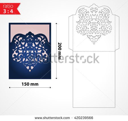 Vector Laser Cut Envelope Template. May Be Used For Cutting