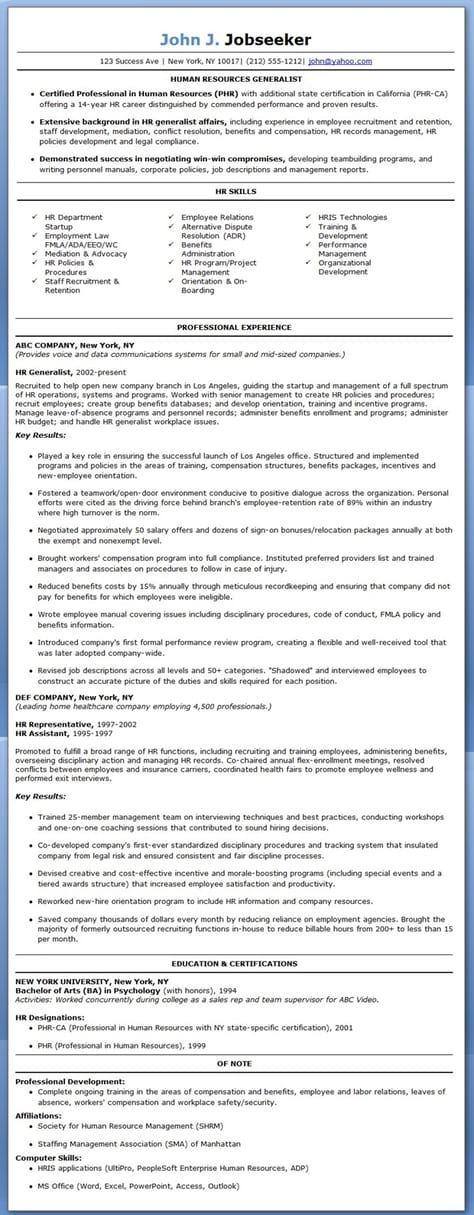 Hr Generalist Resume Examples Resume Examples Resume Skills