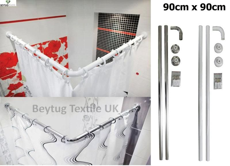 Details About Corner Shower Curtain Rail Rod 90cm X 90cm Quality