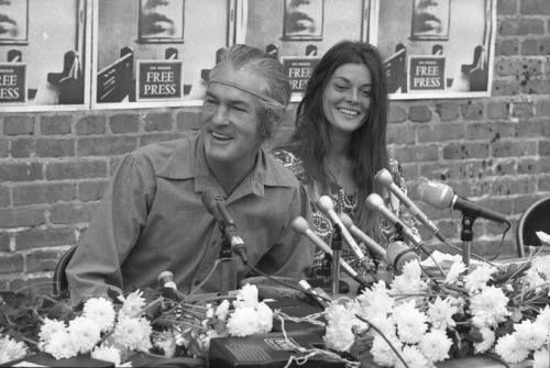 Timothy Leary and his wife Rosemary Woodruff holding a news conference, Los Angeles, 1969.