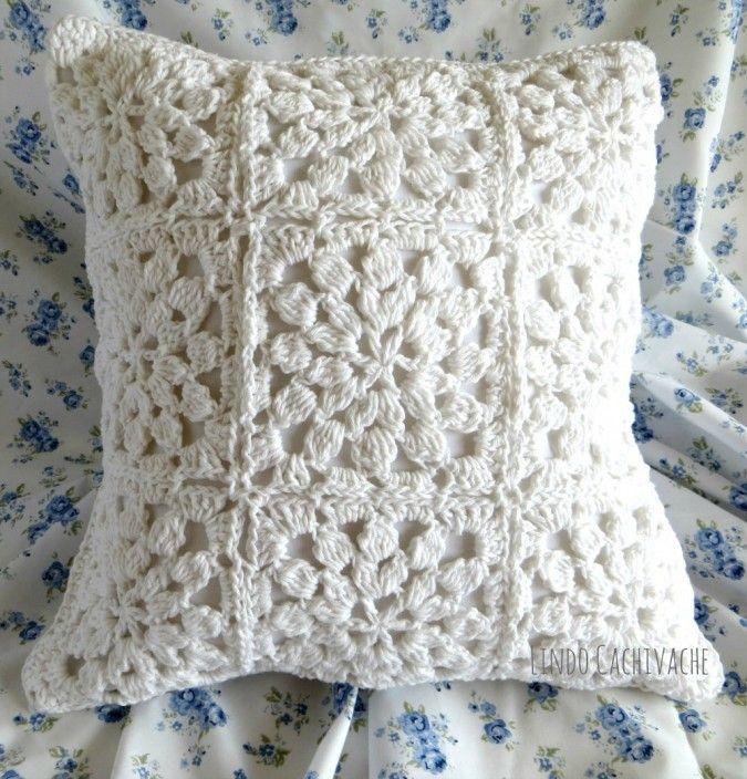Funda almohadon al crochet * Lindo Cachivache * Feria Central ...