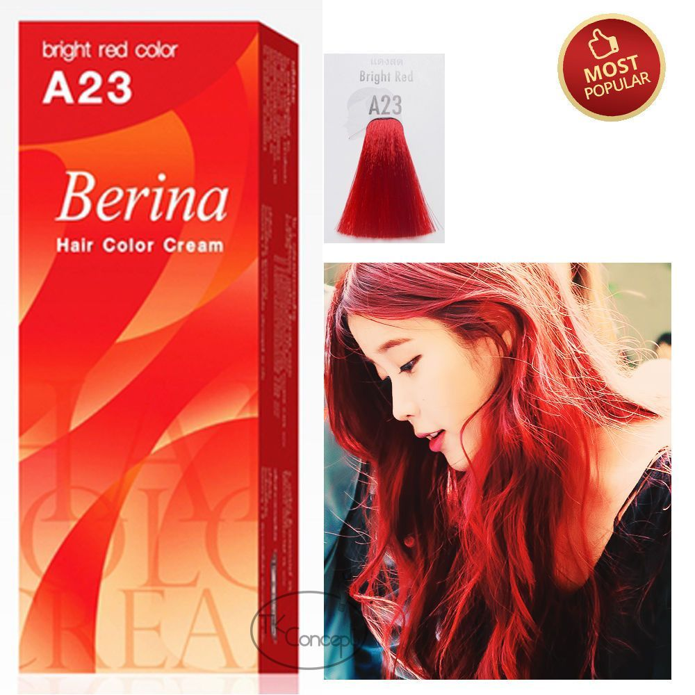 Berina No A23 Bright Red Color Permanent Hair Dye Color Cream