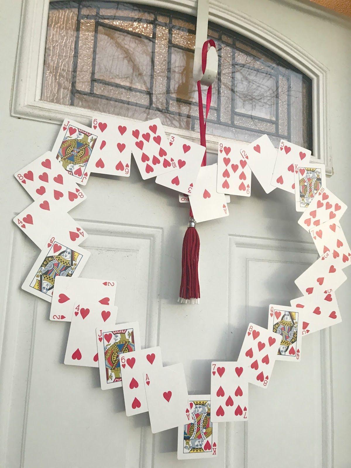 Playing Card Valentine S Day Wreath Diy Valentine S Day Decorations Wonderland Party Decorations Valentine Decorations