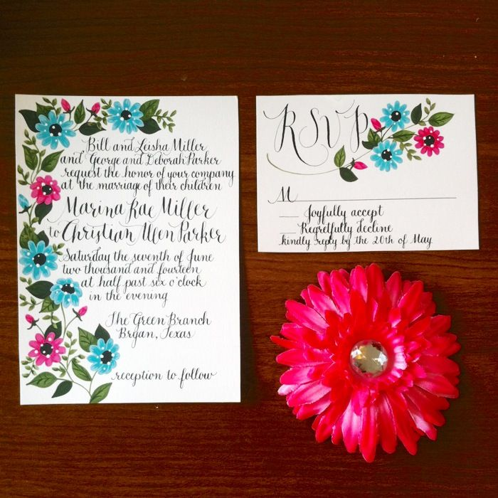 painted invitation and rsvp