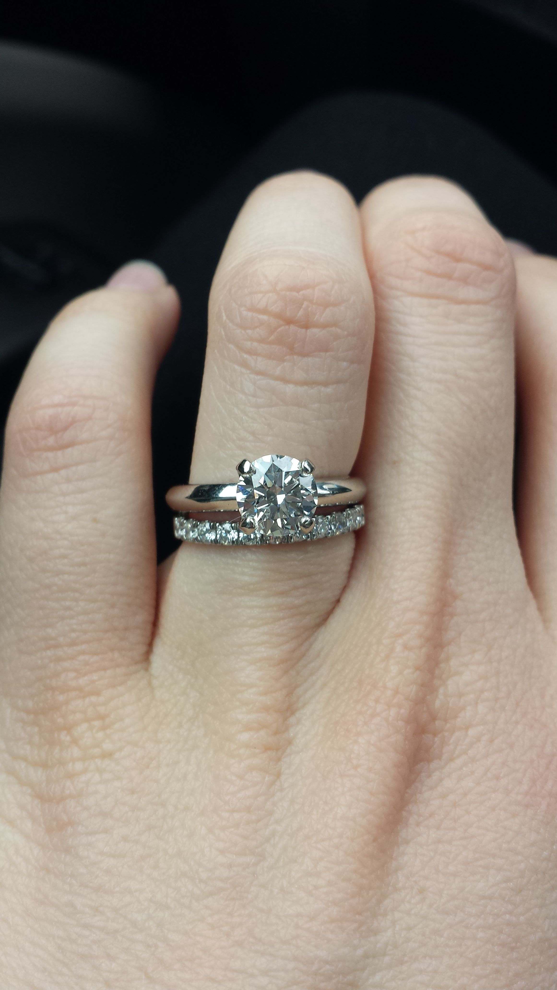 Show me your wedding band with Tiffany/style solitaire e