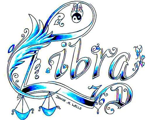 Libra Tattoo Design By Denise A Wells Zodiac Hippy Pinterest