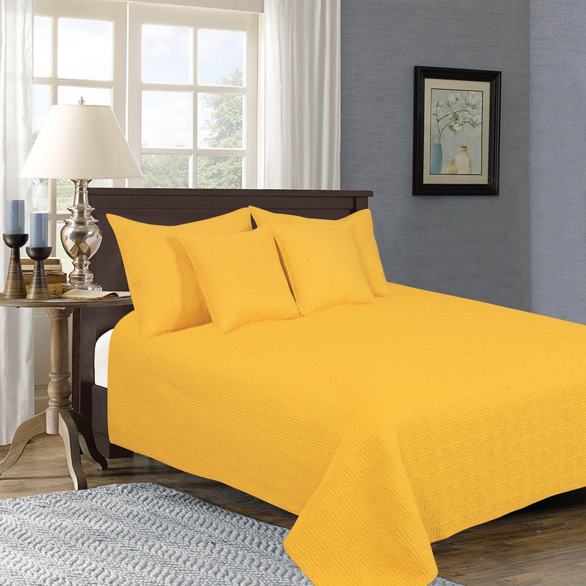 Tache 5 Piece Solid Yellow Brick Road Bedspread Set Comforter Sets Yellow Bedspread Bed Spreads