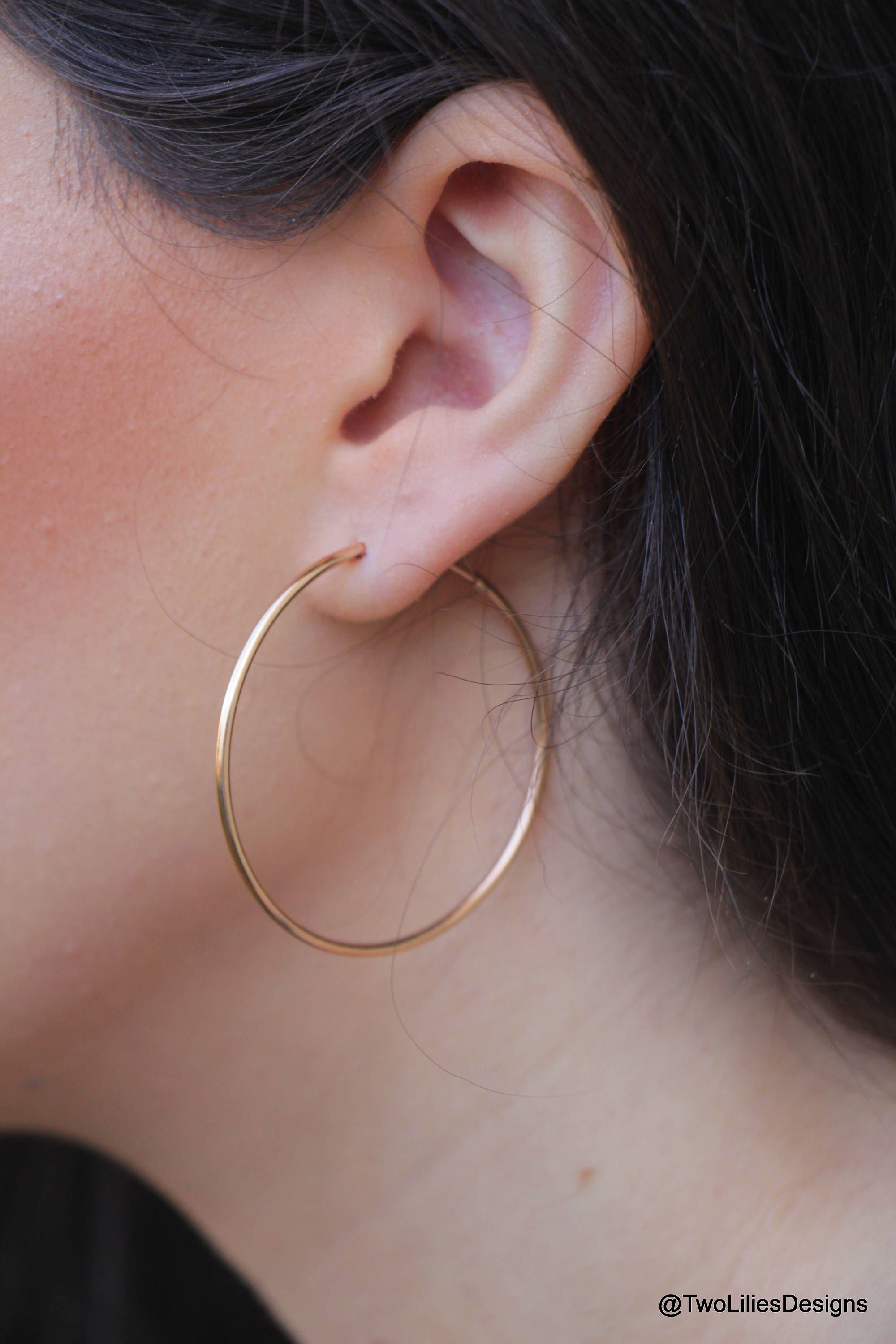 f279483c4e954 Rose Gold Hoops, 44mm Large hoop Earrings, Thin Rose Gold Hoops ...