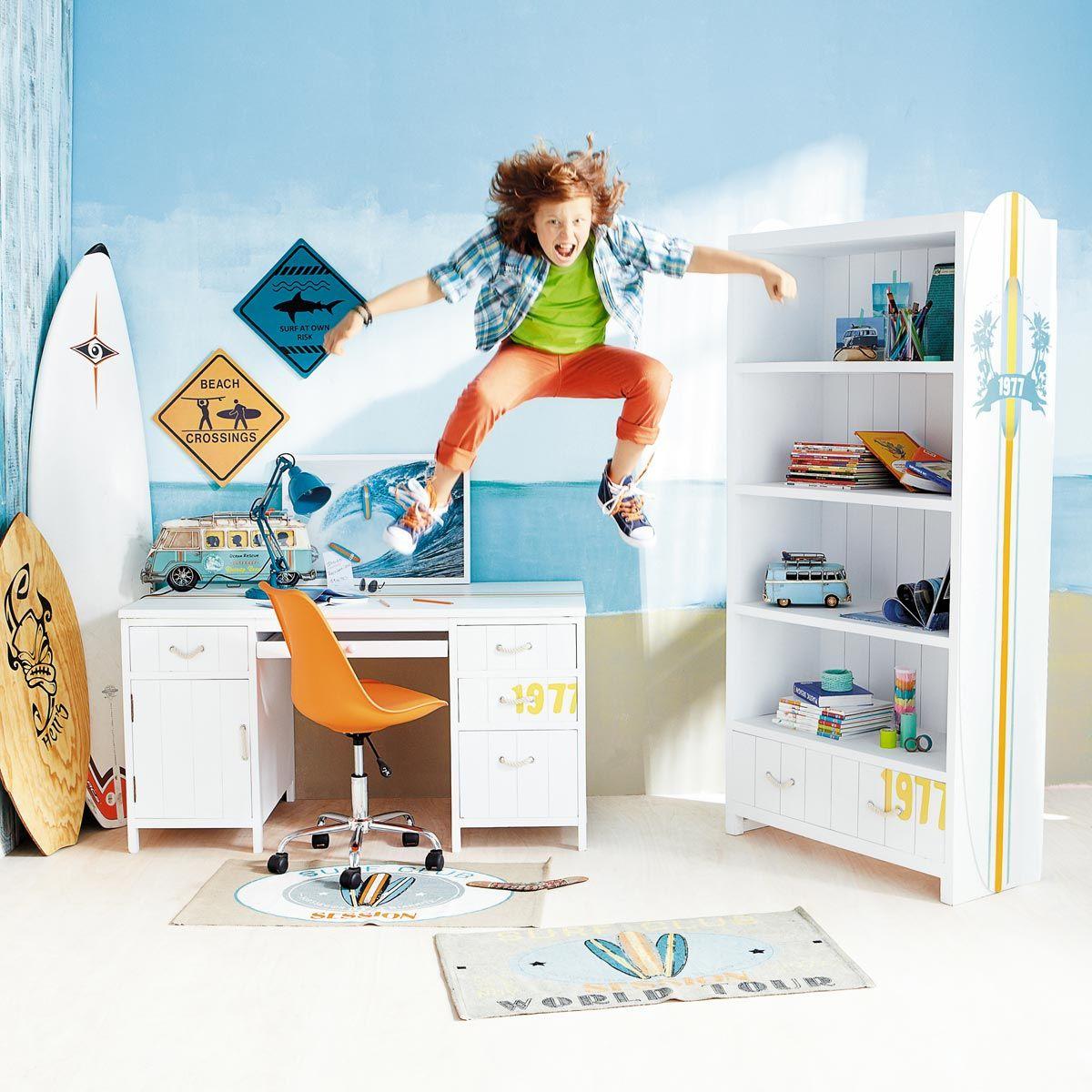 Bureau blanc Surf  Deco chambre, Déco chambre ado garçon, Deco