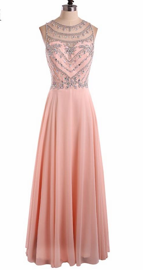 Sexy Long Prom Dresses Pink Sleeveless Chiffon Crystal Beading ...