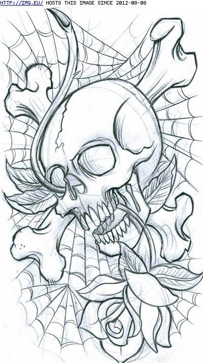 Cross Bones Skull Spiderweb And Rose Tattoos Coloring border=