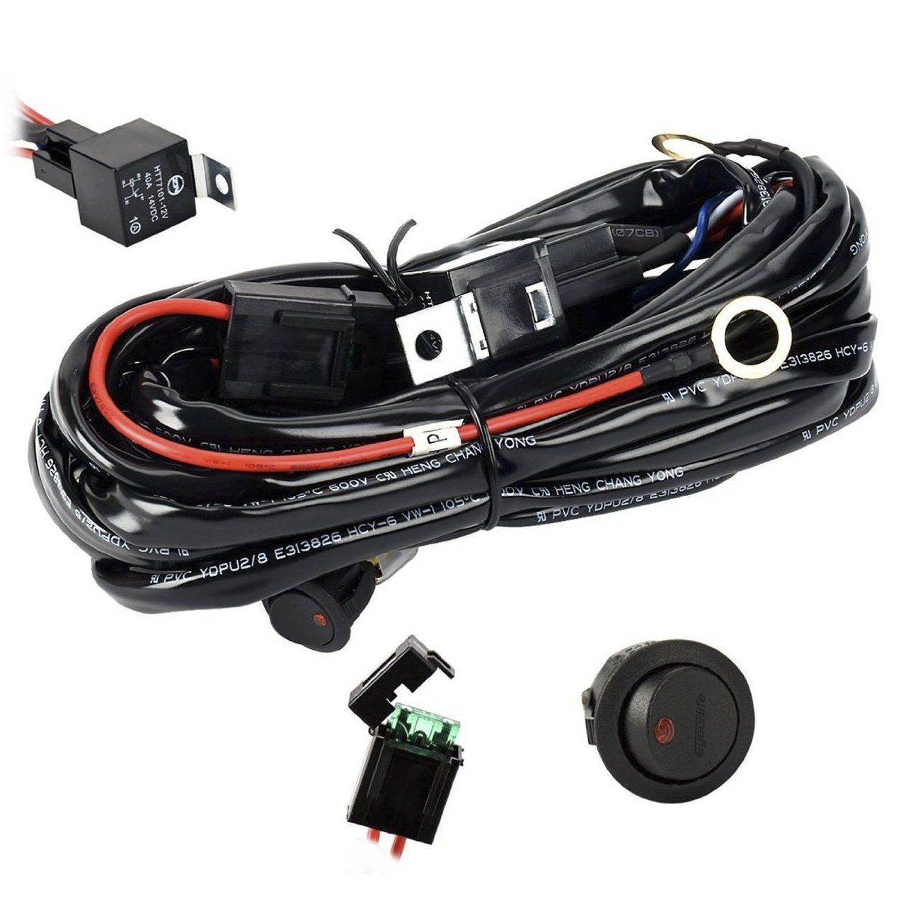 Wiring Harness,Eyourlife Heavy Duty Wiring Harness Kit for Led Light bar  300W 12V 40A Fuse Relay On/Off Switch Relay 14AWG 12FT Length Universal  Fitment ...