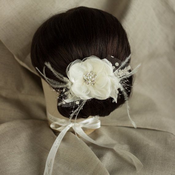 Bridal Headpiece Ivory Bridal hair flower Ivory by LeFlowers