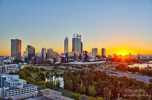 Sunrise over Perth CBD