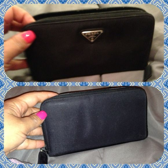 3e053614884f Authentic nylon Prada zip wallet Black Prada wallet has 8credit card slots,  a zipped coin slot and 2 slots for money or receipts.