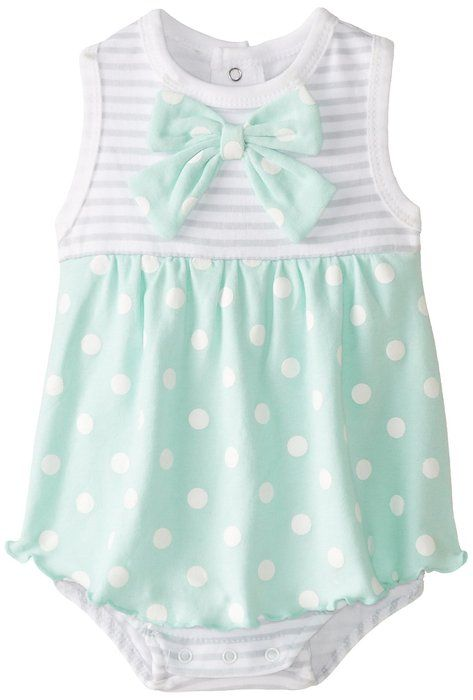 ff8c07e21 BON BEBE Baby-Girls Newborn Bow and Polka Dots Sleeveless Sundress ...