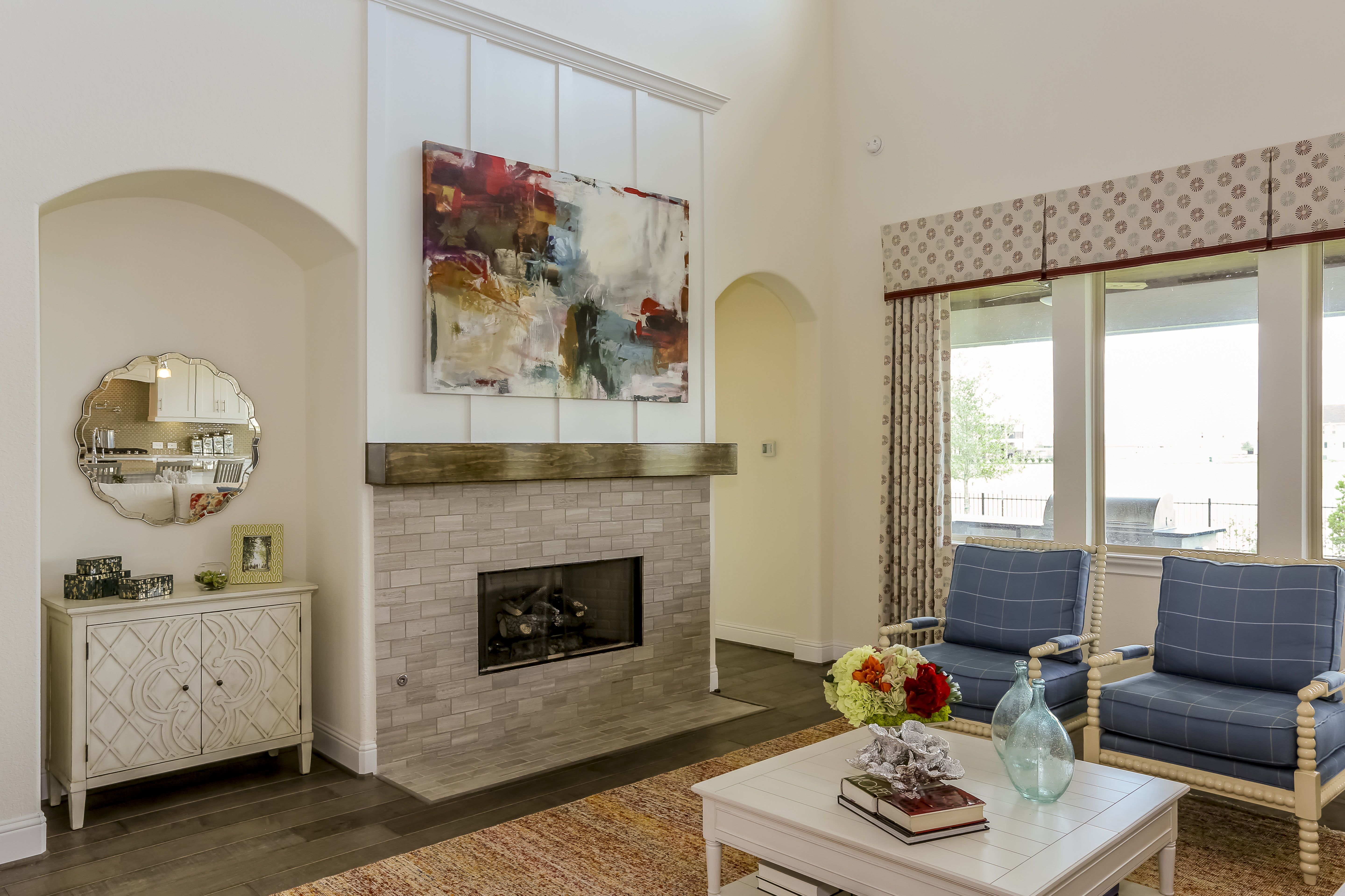 Gehan Homes Monarch Fireplace Beige Brick Fireplace with ...