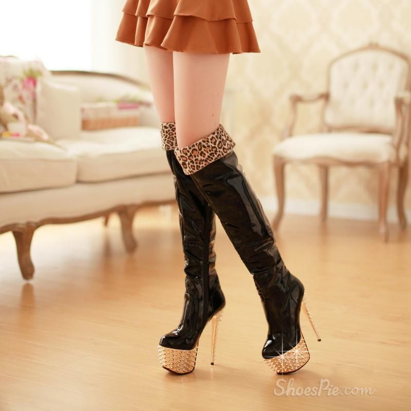 Exquisite Black Knee High Leatherette Round Toe Stiletto Heel Boots