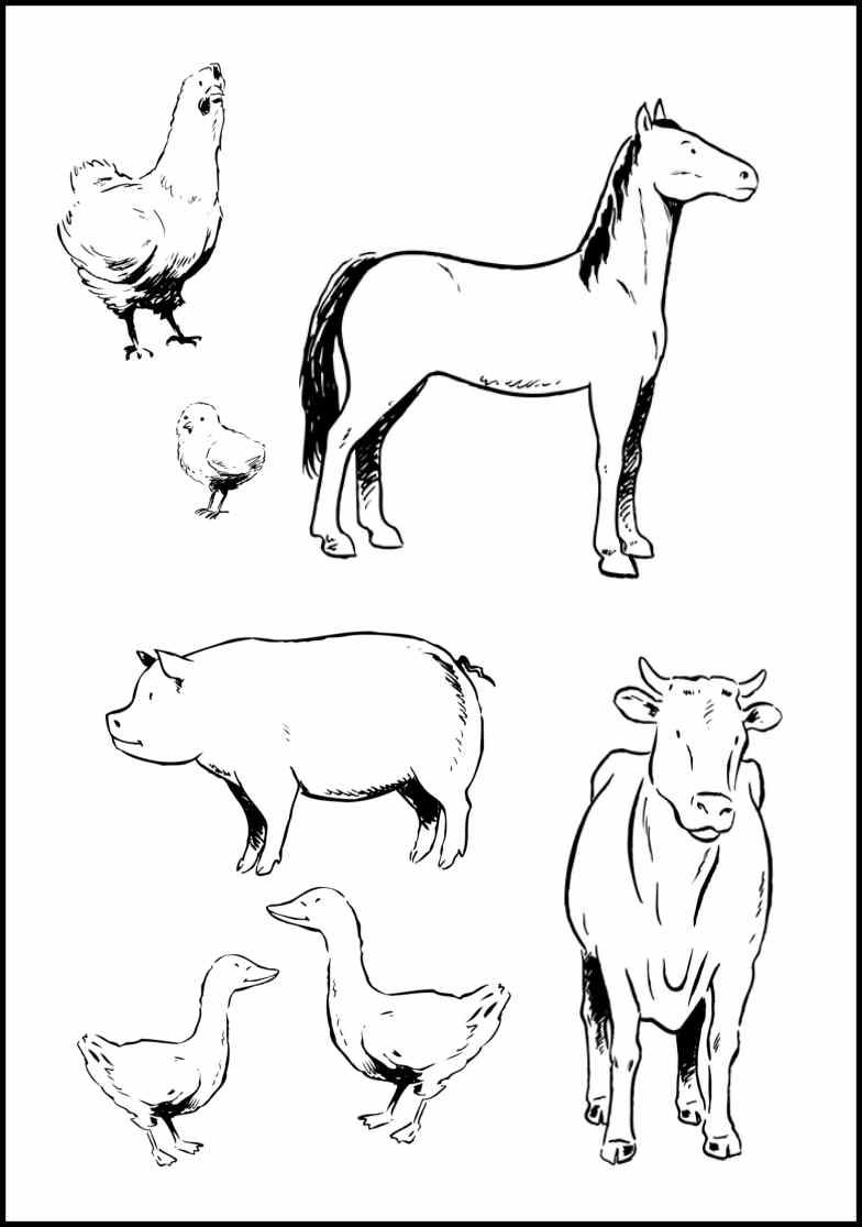 Children's coloring pages farm animals
