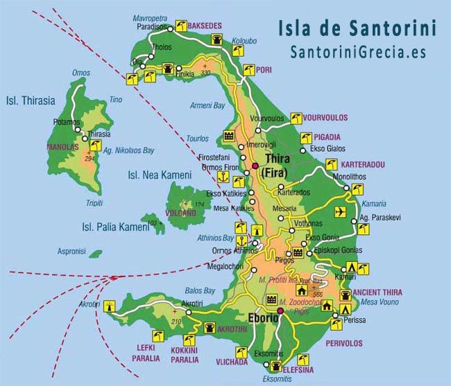 Mapa De Santorini Isla Griega Santorini Grecia Mapa De