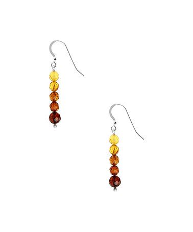 Look what I found on #zulily! Amber & Sterling Silver Ombré Linear Drop Earrings #zulilyfinds